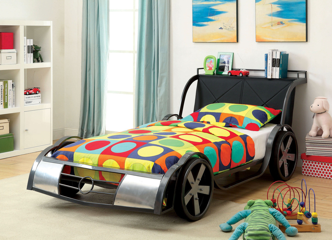 Gto Racer Gunmetal Silver Twin Car Bed Theme Bed Frames