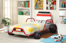 red twin metal car bed frame