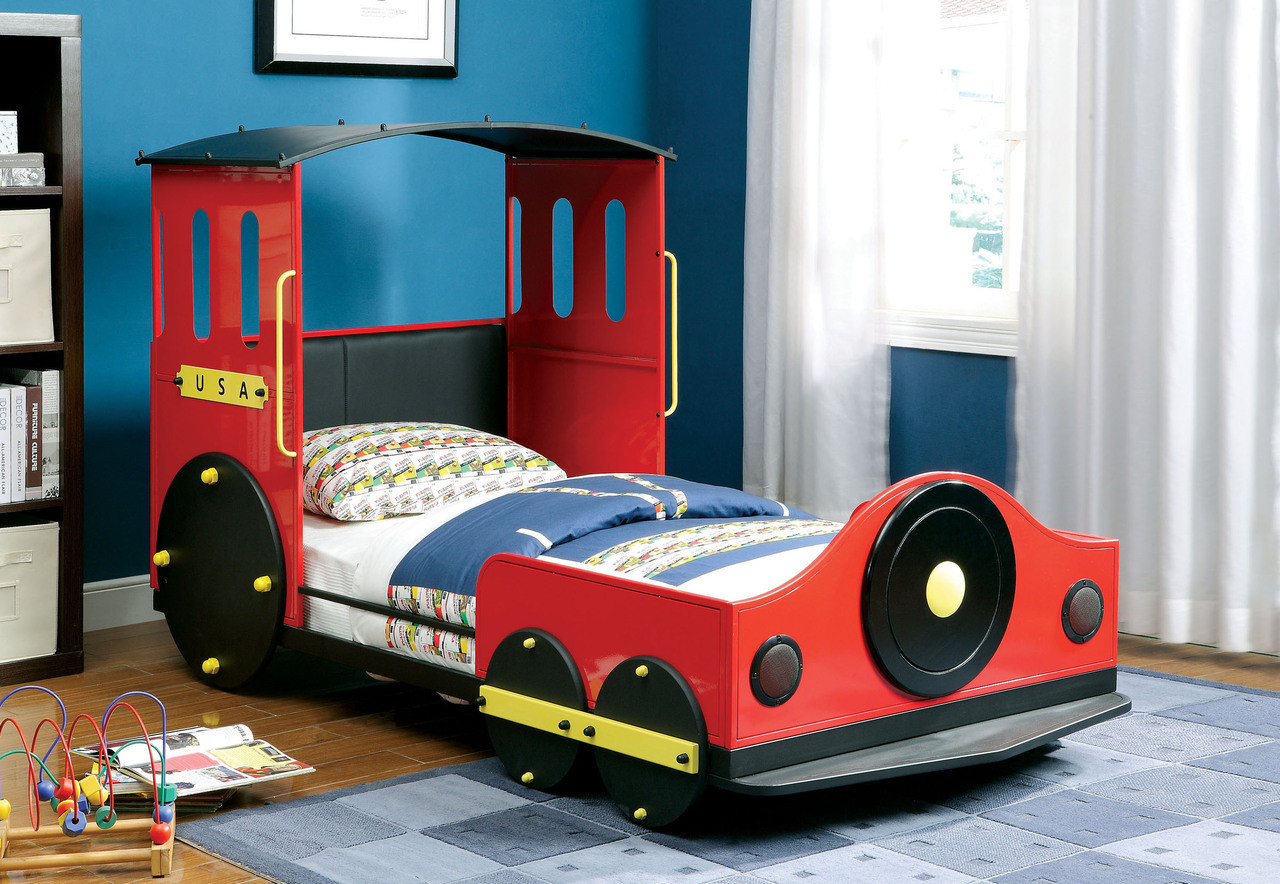 red train twin metal car bed frame