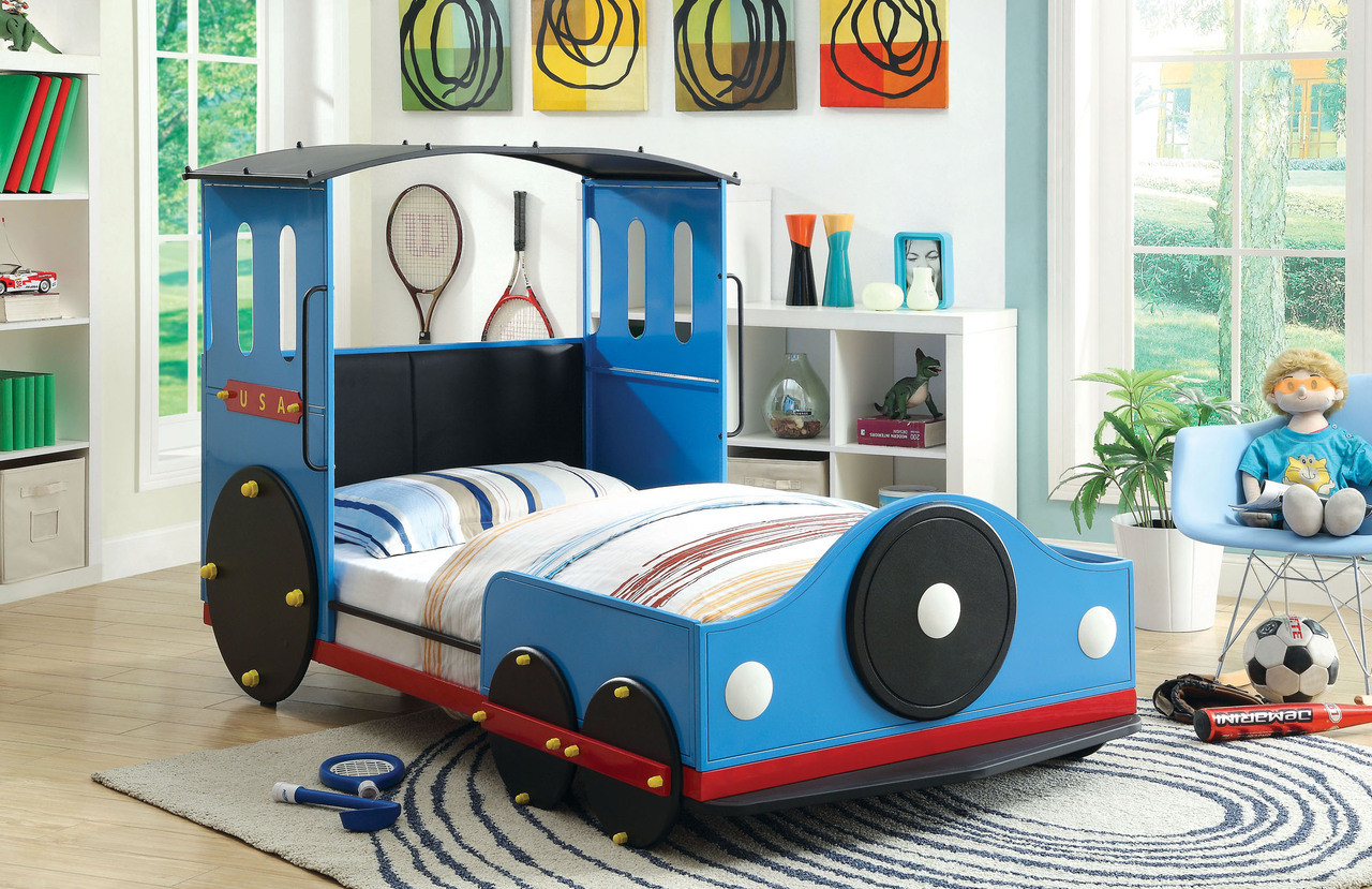 blue train twin metal car bed frame