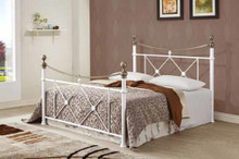 White Antique Gold Metal Sleigh Bed