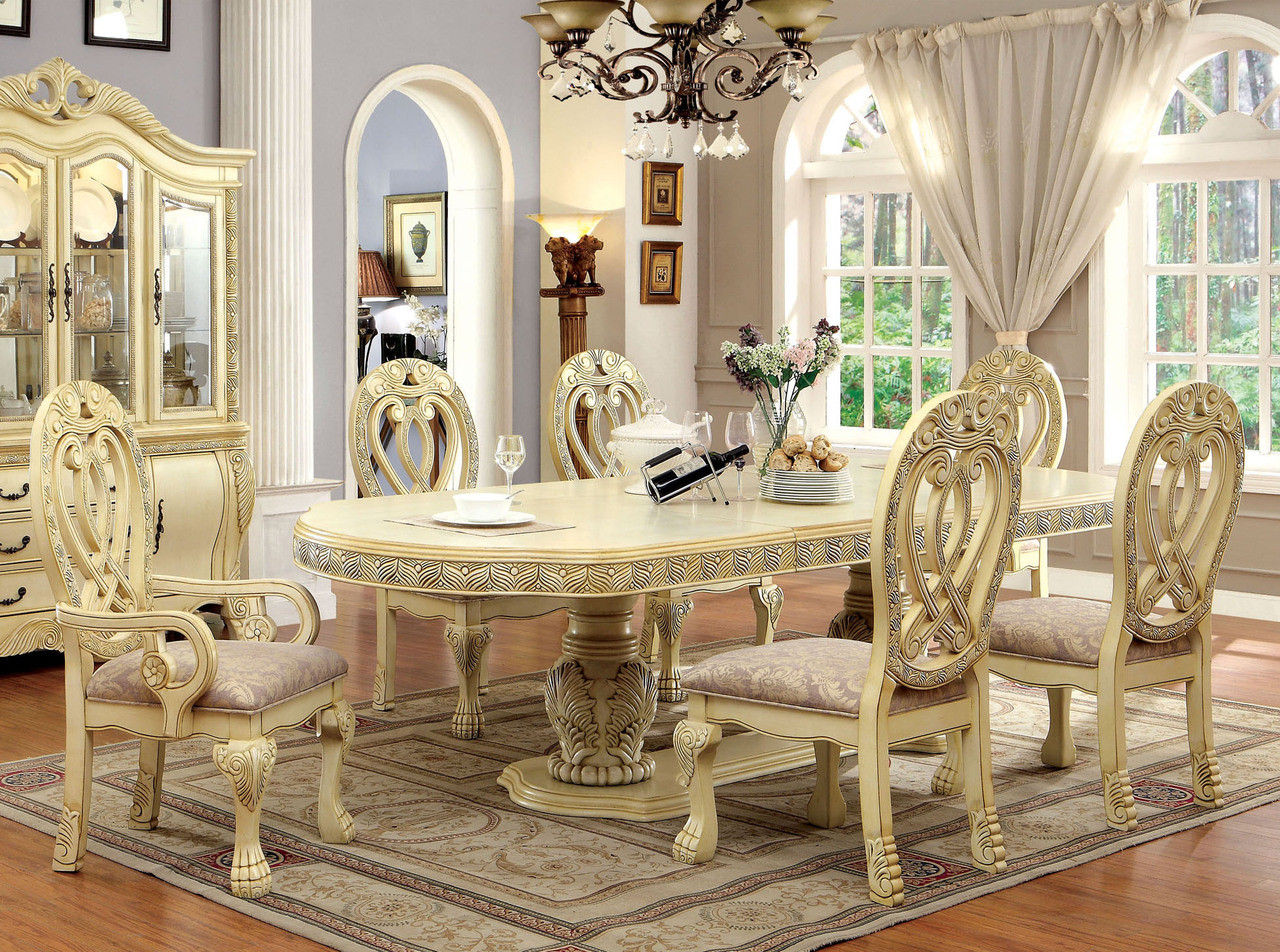 Delightful 112 Versailles Antique White Formal Dining Table Set