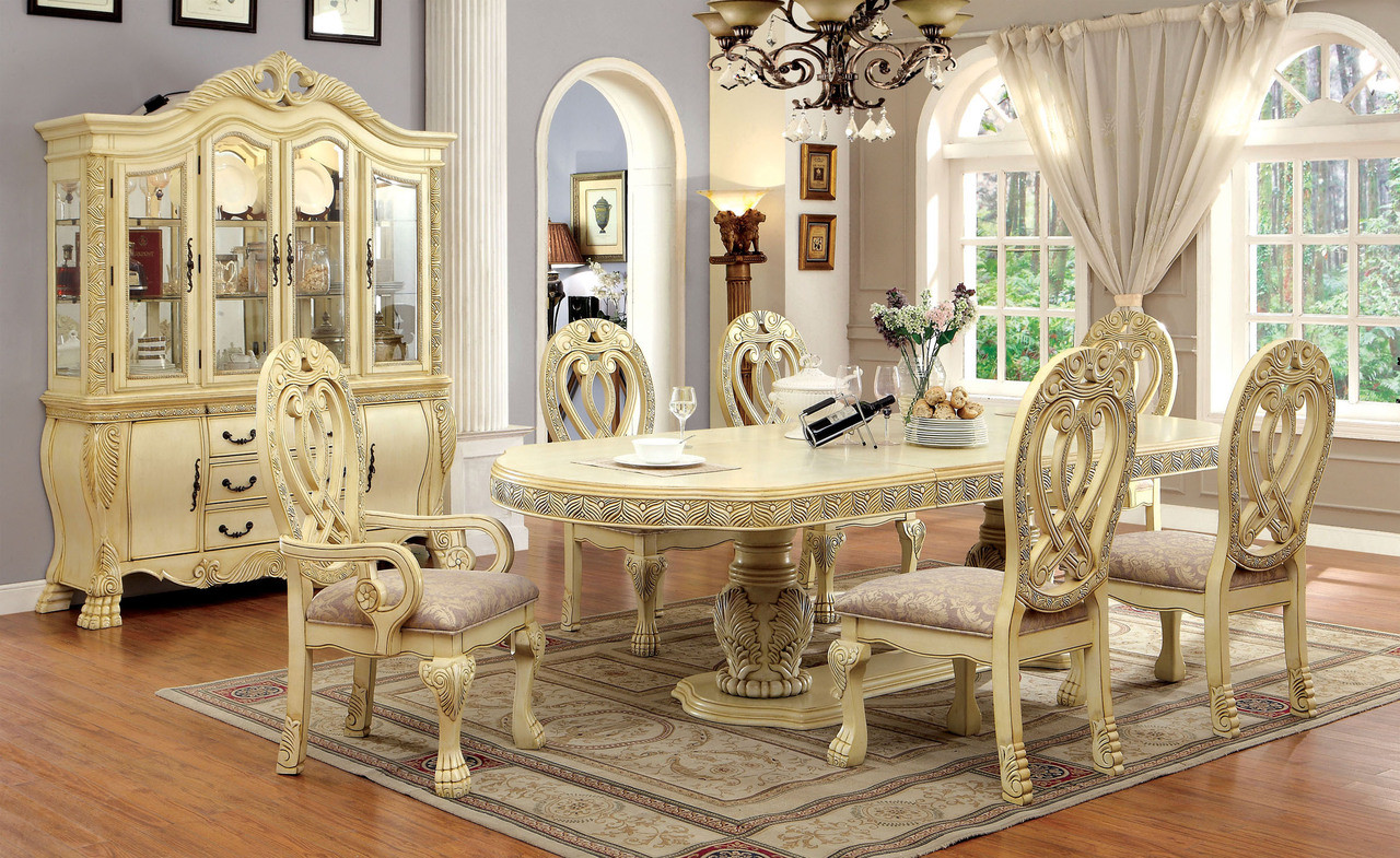 Antique white formal dining room set for 10 · shown with buffet