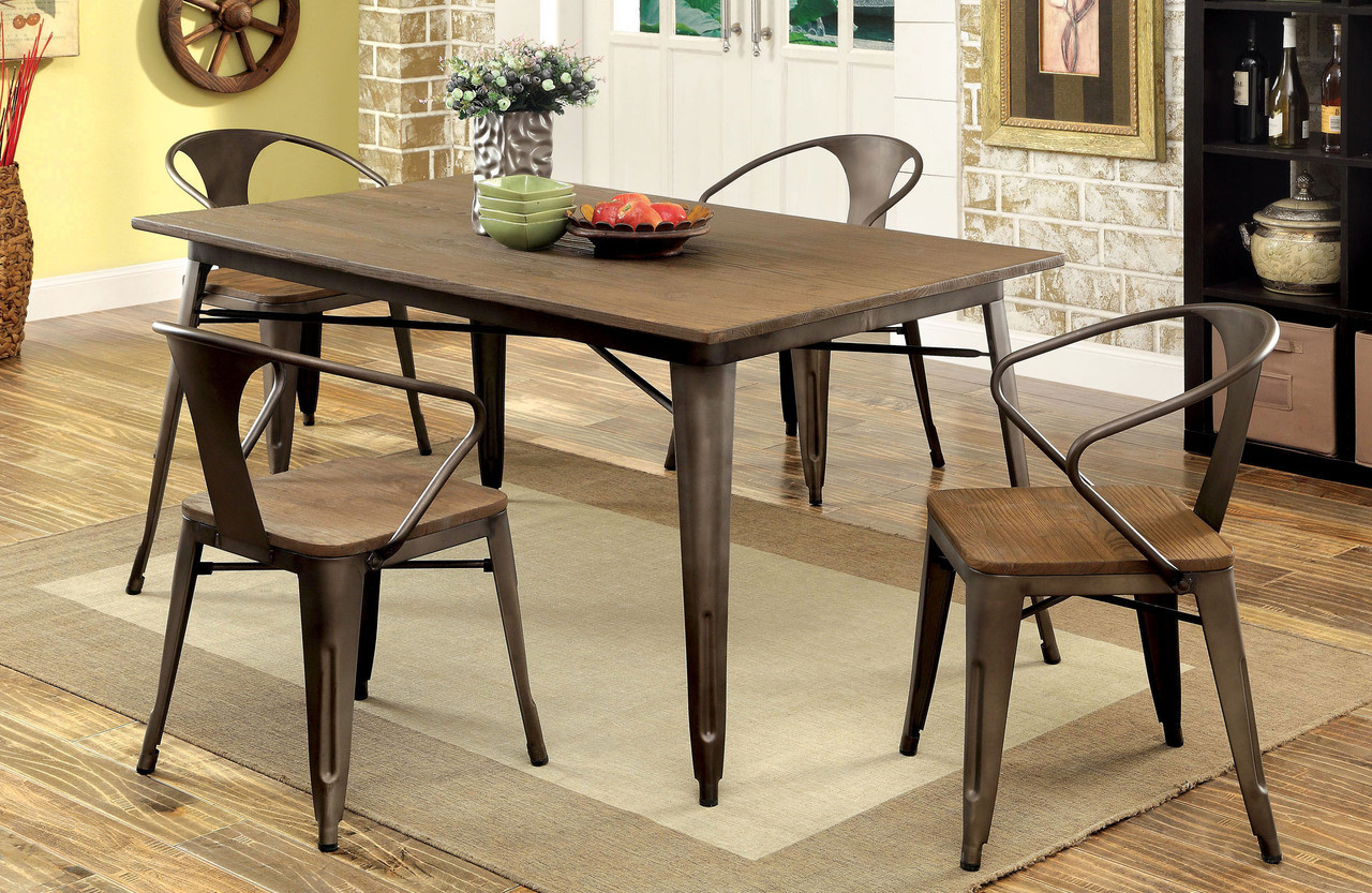 Industrial Natural Elm Dining Table + 4 Chairs | Stylish Small Kitchen Table with Chairs ... & Coachella Industrial Natural Elm Dining Table Set