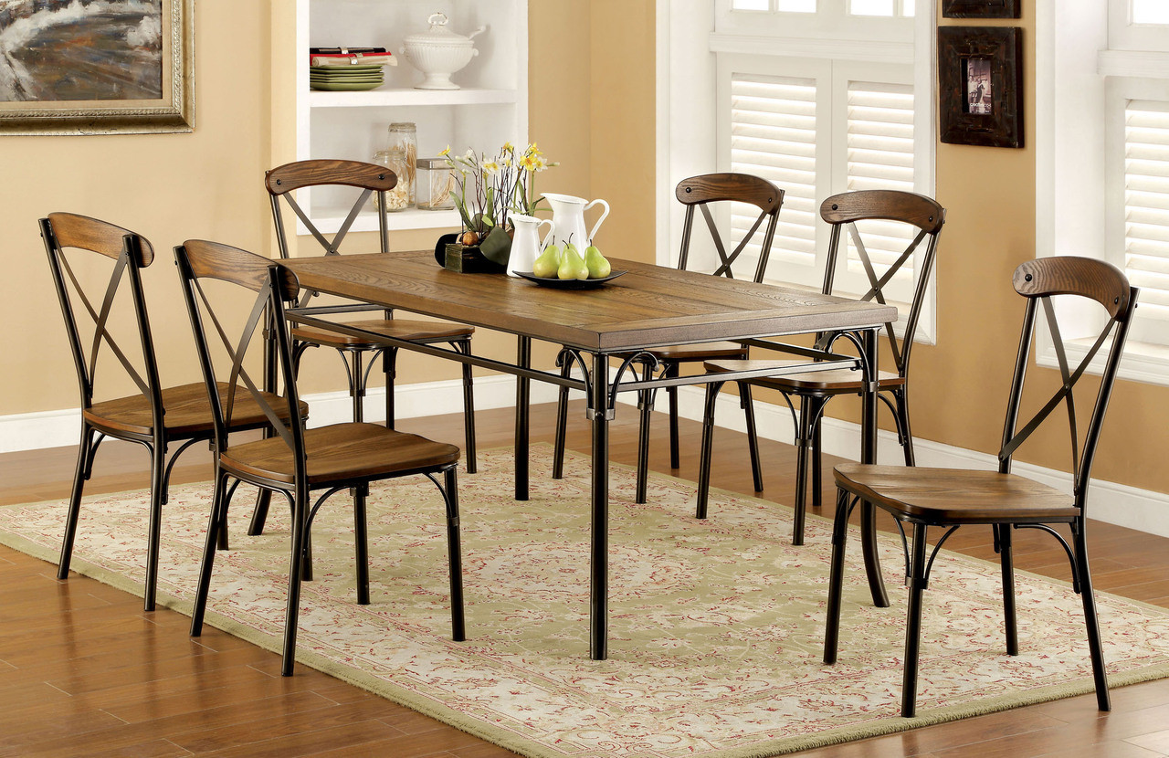 Good Industrial Wooden Bronze Dining Table Set | Sturdy Industrial Style Dining  Set ...