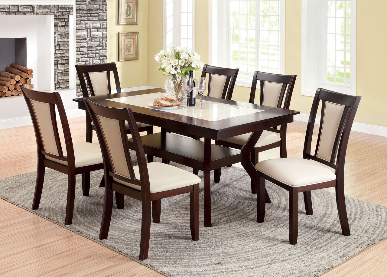 Brentwood Dark Cherry Faux Marble Dining Table Dining Table