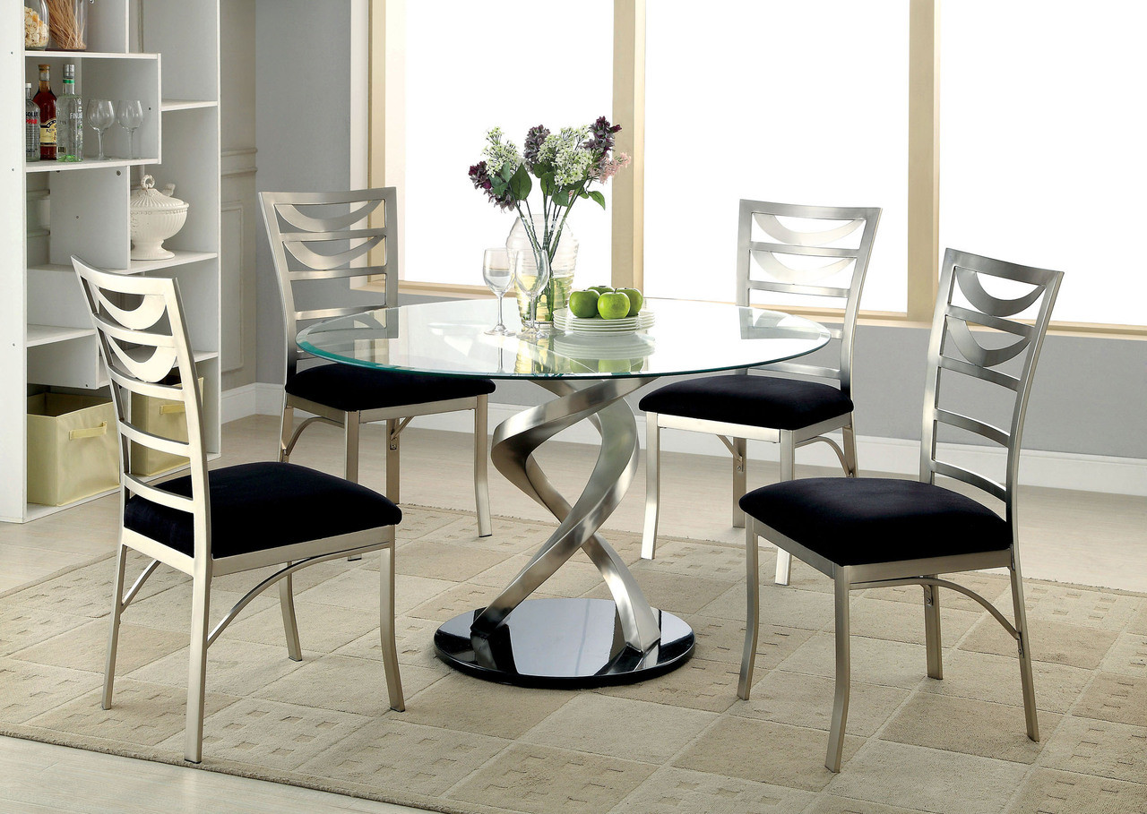 48 Quot Mueller Round Glass Satin Dining Table With 4 Chairs
