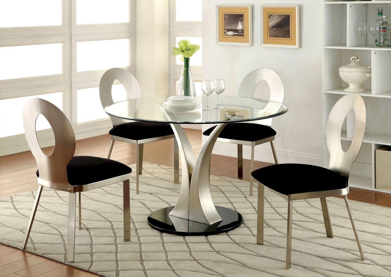 45 mueller round glass satin dining set round glass table. Black Bedroom Furniture Sets. Home Design Ideas
