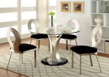 Round Glass Satin Dining Set
