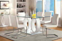 Cortina Glass White Dual Base Dining Table Set