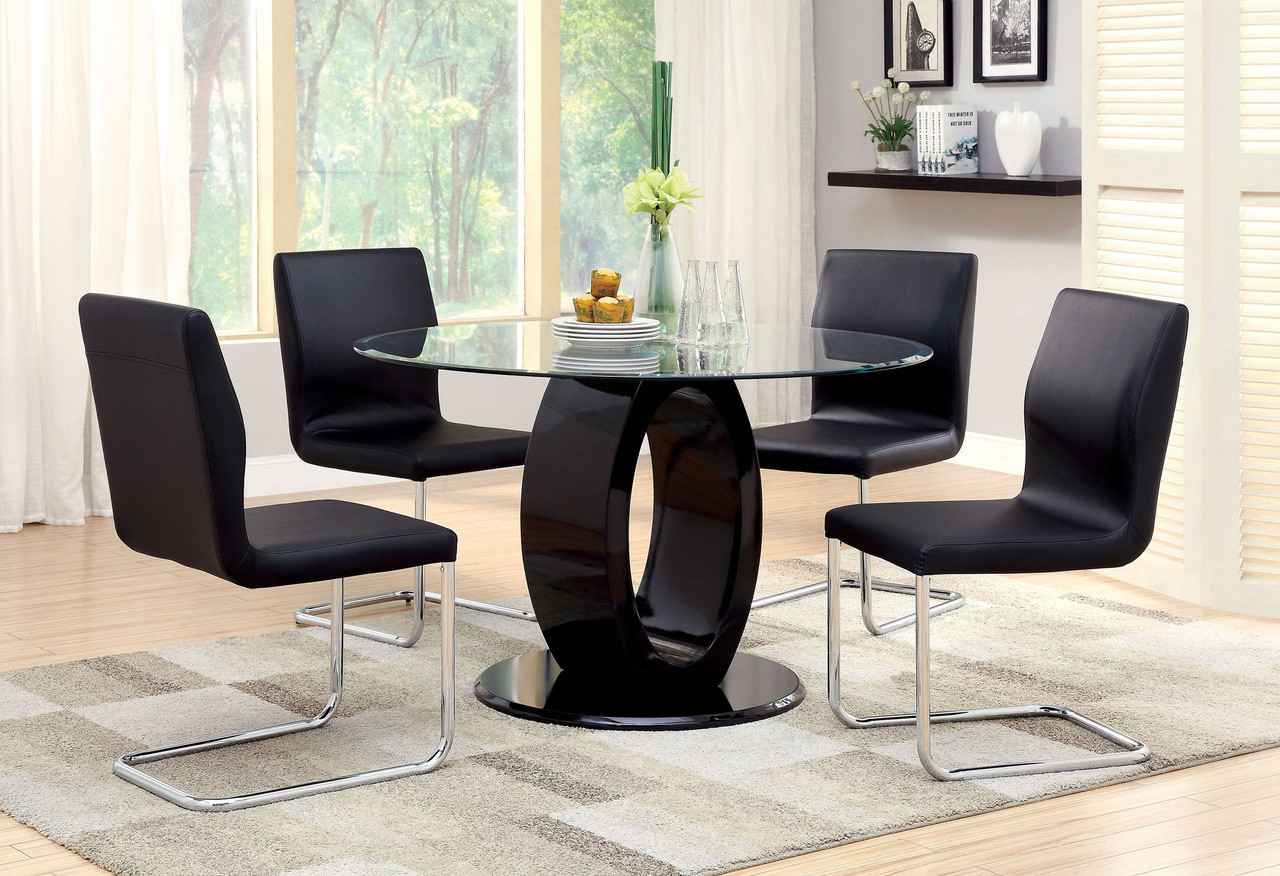Round Glass Single Base Dining Table Black Glass Dining