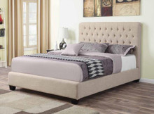 Oatmeal Linen Traditional Tufted Platform Bed | Spacious King Queen Button Tufted Platform Bed