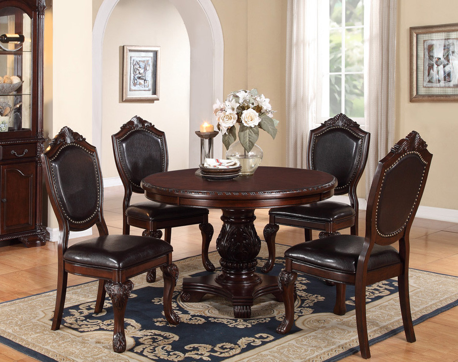 Marseille 48 Cherry Round Dining Table Set Round Wood Dining Tables