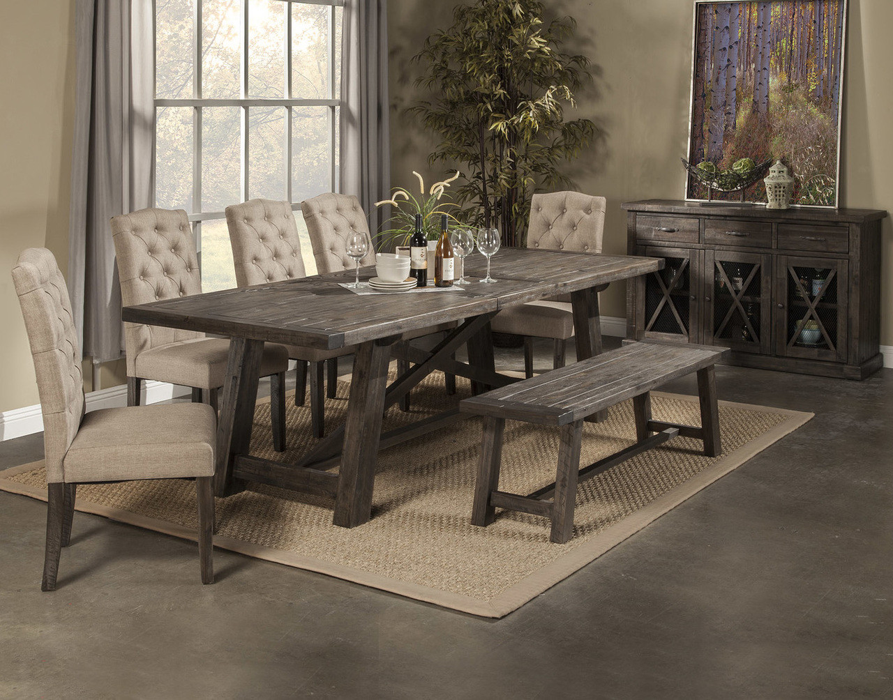 Newberry dining table with 4 chairs bench salvaged grey dining table