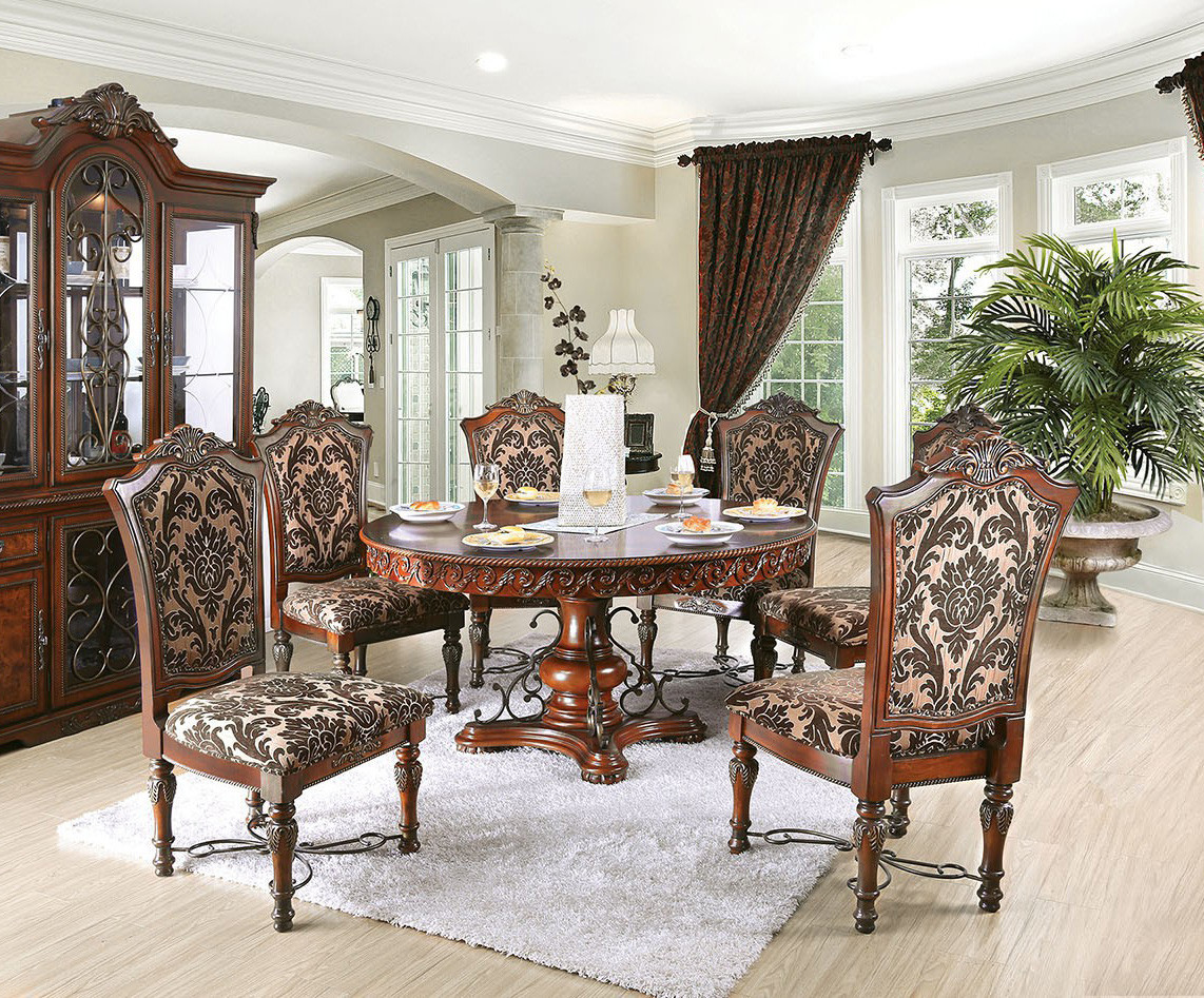 "60"" Geneva Round Brown Cherry Formal Dining Room Set"