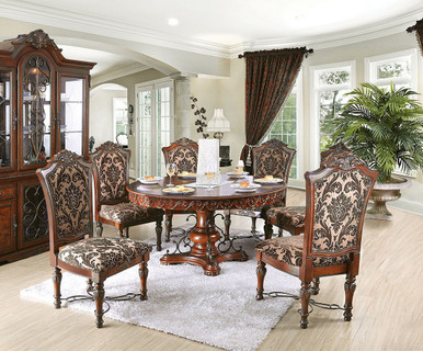 60 geneva round brown cherry formal dining room set. Black Bedroom Furniture Sets. Home Design Ideas