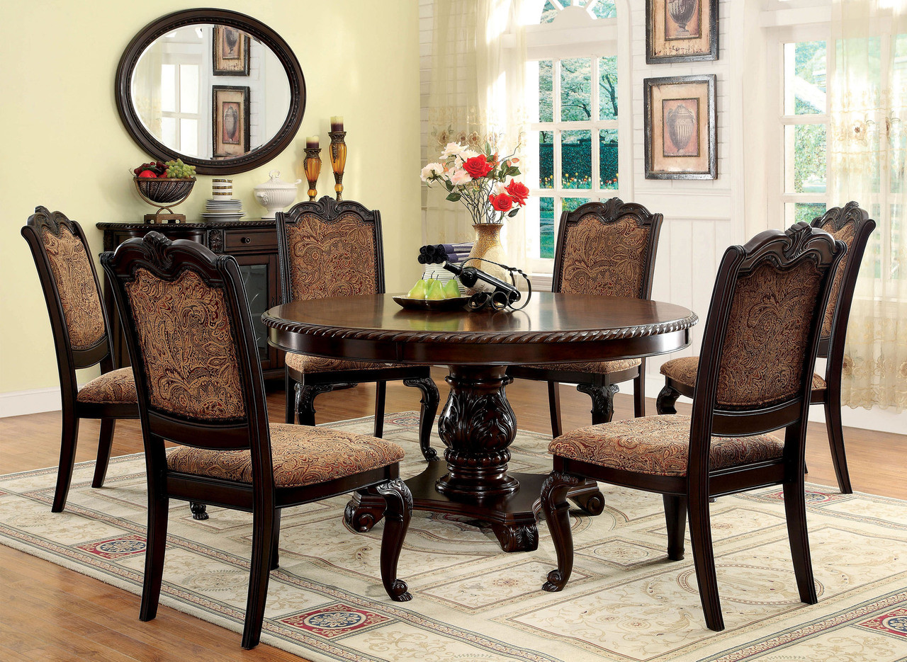 60 Bellagio Brown Cherry Round Table With Fabric Chairs