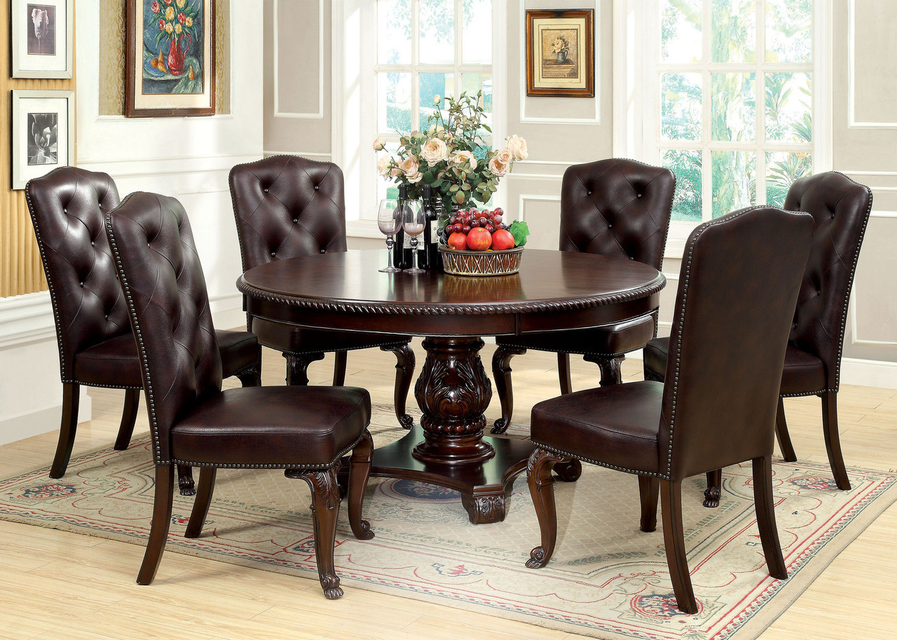 60 Quot Bellagio Brown Cherry Round Dining Table Set Seating