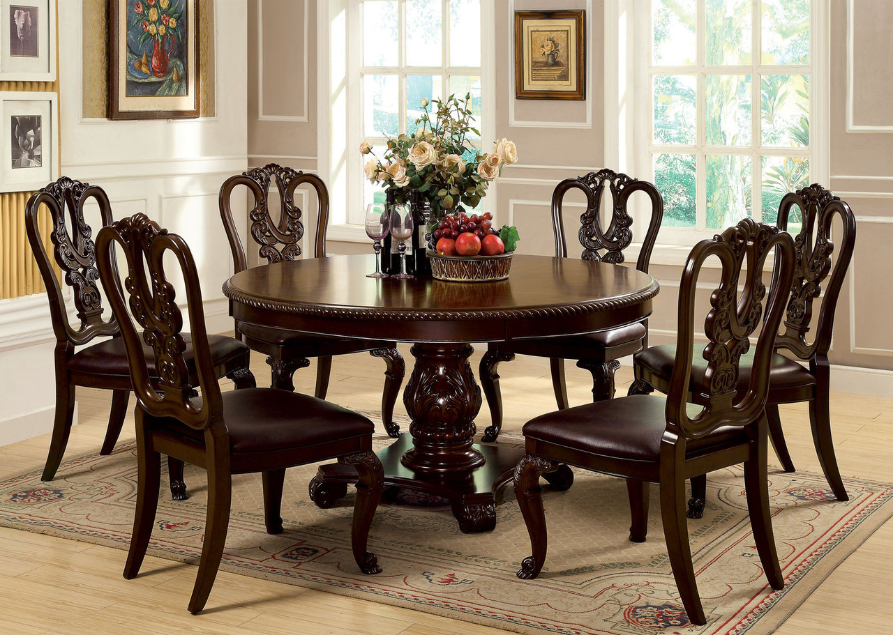"60"" Bellagio Brown Cherry Round Dining Table Set 