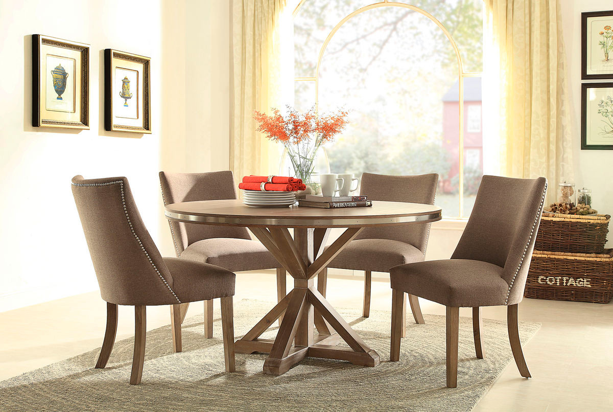 Transitional Round Light Oak Stainless Steel Trim Dining Set