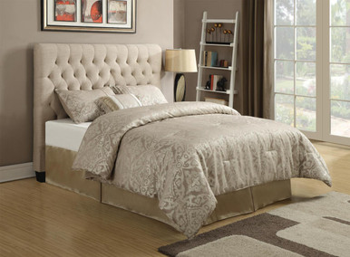Chloe Oatmeal Upholstered Headboard With Button Tufting