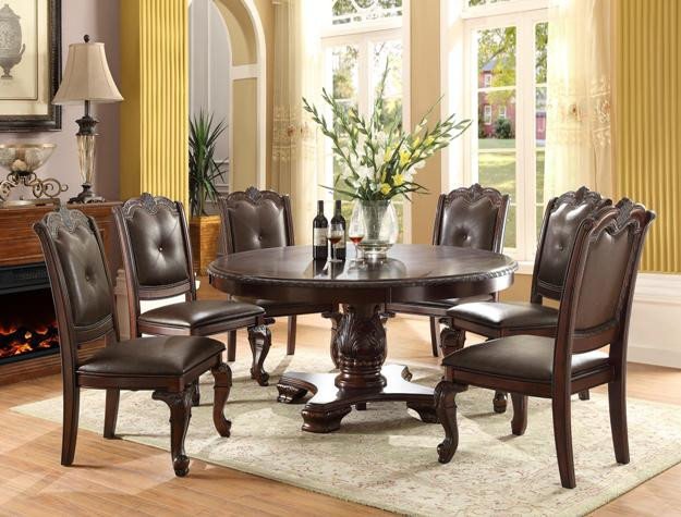 Dark Cherry Round Dining Table Set | Timeless 60 Inch Round Dining Table