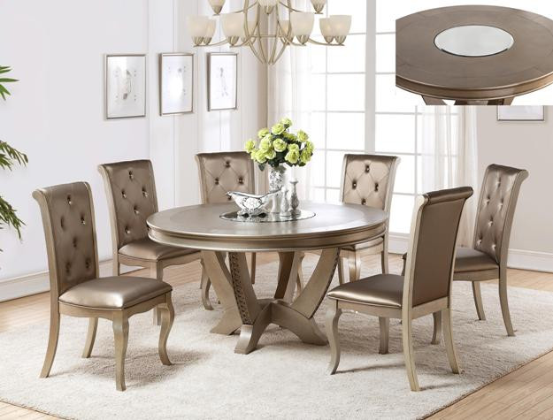 Mina Platinum Round Pedestal Dining Table Set | Luxurious 60 Inch Round Dining  Table