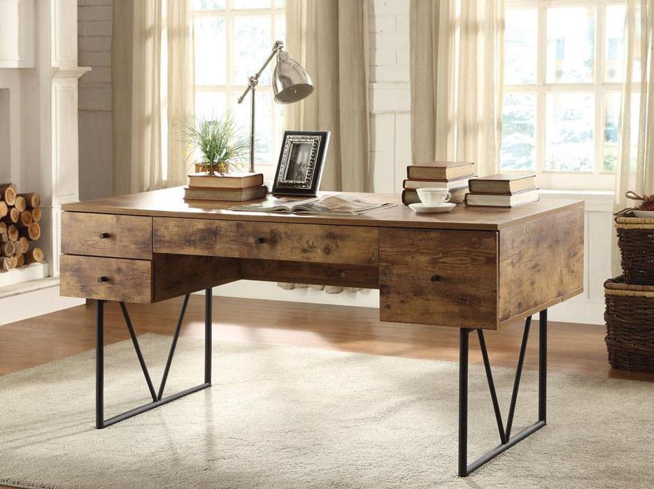 - Antique Nutmeg Industrial Style Writing Desk