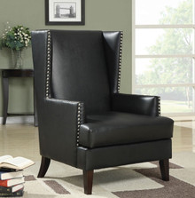 Black Leatherette Wing Back Accent Chair