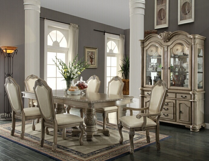 ACME Chateau De Ville Antique White 48 Pc Pedestal Dining Table Set Custom Antique White Dining Room