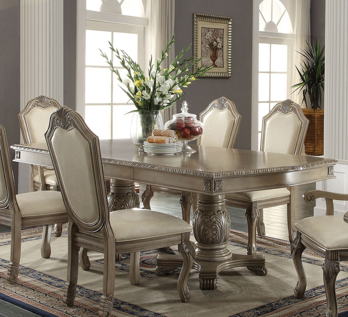 ... Antique White Pedestal Dining Table ... : white pedestal dining table set - pezcame.com