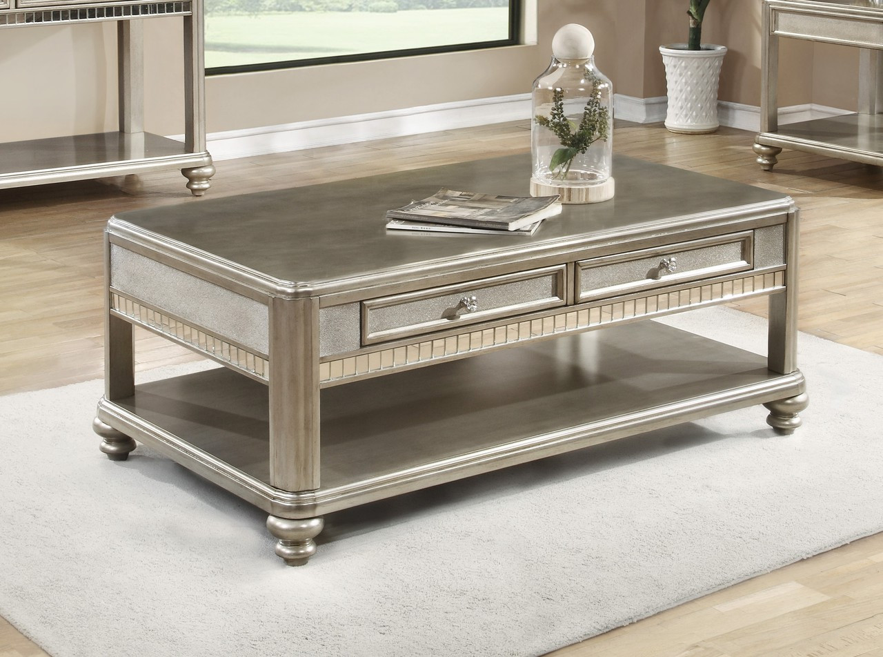 Metallic Platinum Coffee Table With Drawers | Stylish Coffee Table With  Drawers