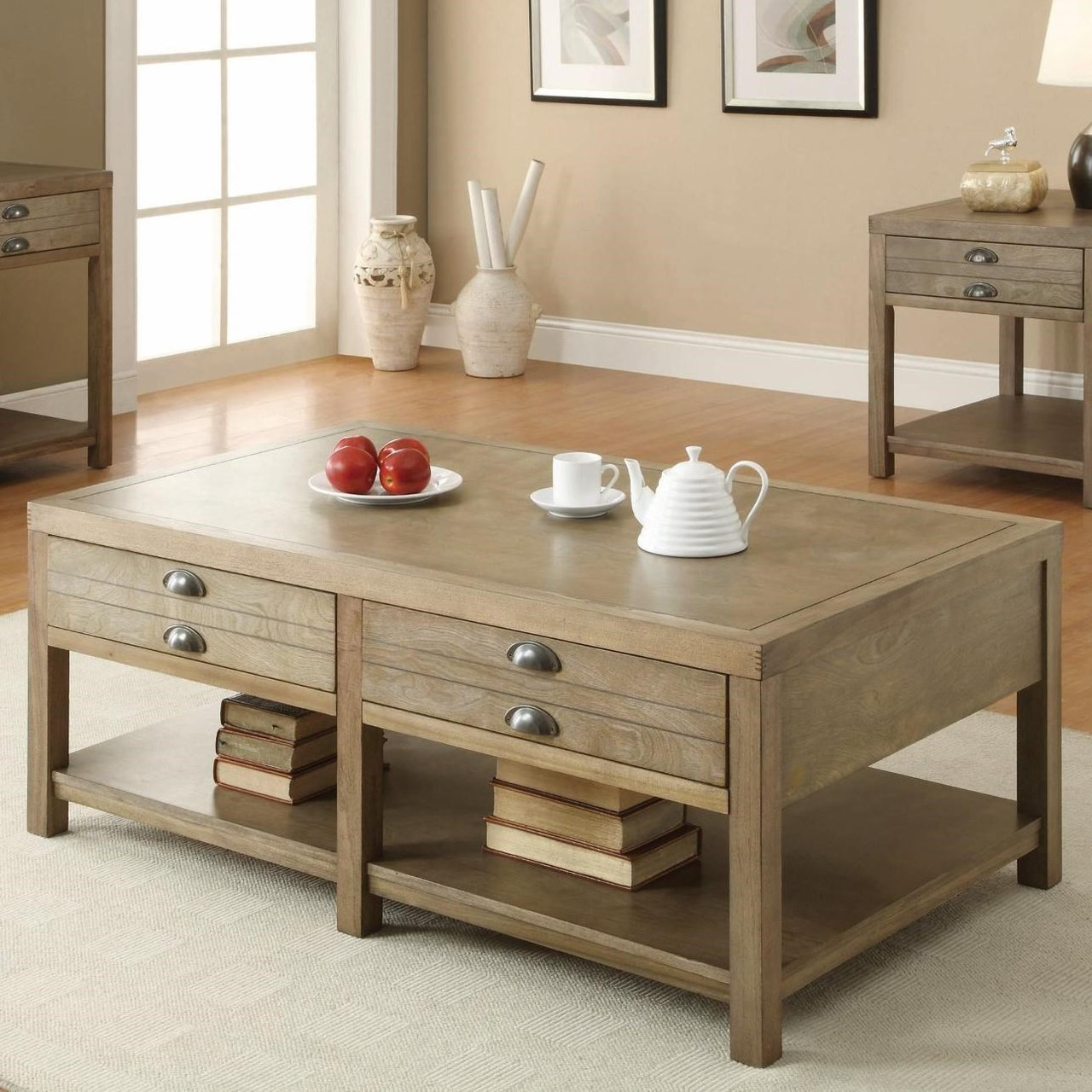 Driftwood Finish Coffee Table with Drawers