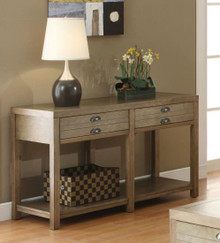 Driftwood Finish Sofa Table with Drawers