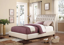 Pitney Upholstered Tufted Pearl Leatherette Queen Bed | ACME Furniture 22840
