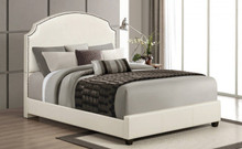 Kristina Cream Leatherette Queen Bed | ACME Furniture 24710