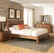 Coaster Peyton Natural Brown Wood Platform Bed | Sturdy King Queen Wood Platform Bed
