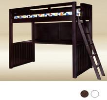Newcastle Wood Bead board Twin Loft with Desk space Below