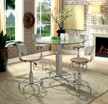 Helene 5 Piece Pipe Inspired Adjustable Height Dining Set | Round Glass Table