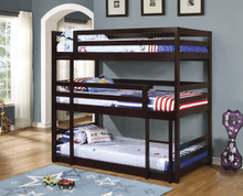 Triple Decker Bed Twin Size in Cappuccino Finish | 3 Level Beds