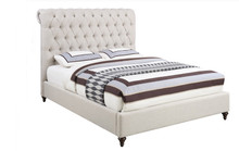 Devon Beige Fabric Upholstered Low Profile Bed