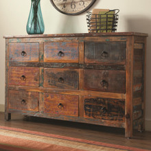 Rustic Reclaimed Teak Wood Acacia Accent Cabinet with Drawers   Coaster 950365