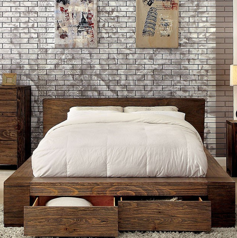 Janeiro Modern Low Profile Platform Bed with Drawers