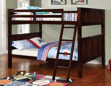 Zachary Full Size Bunk Bed for Kids in Dark Walnut