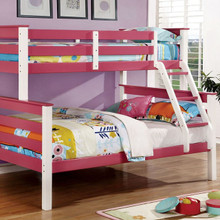 Lorren Wood Twin Full Bunk Bed in Two-Tone White Pink Finish