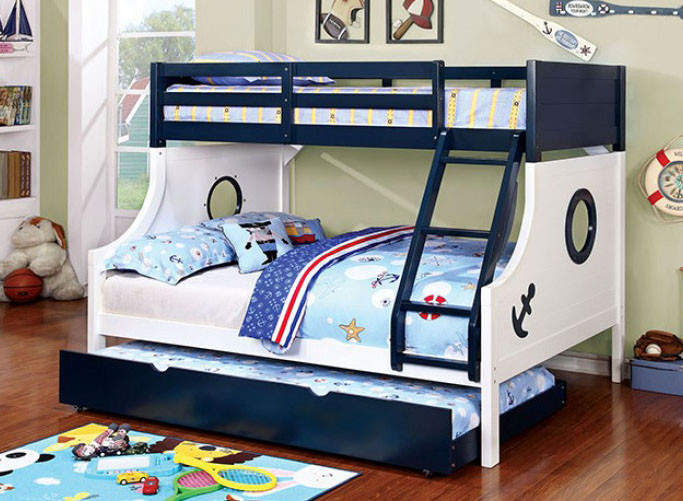 Caden Nautical Blue White Twin Over Full Bunk Bed