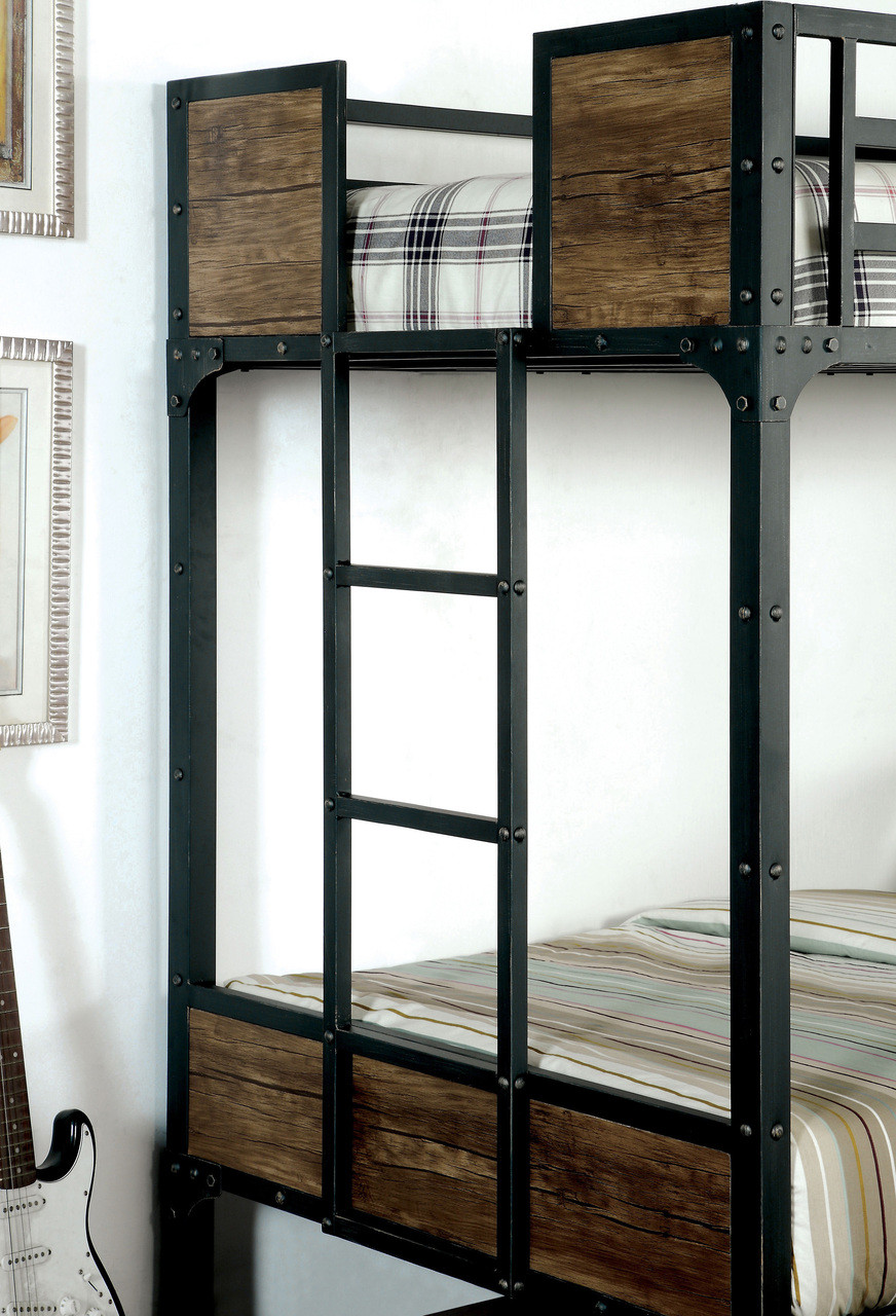 austin industrial inspired metal twin bunk bed end detail
