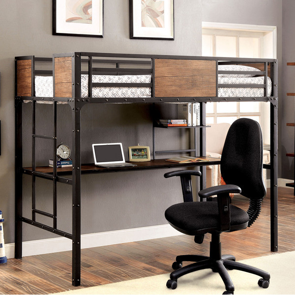 Austin Industrial Inspired Metal Twin Loft Bed With Desk