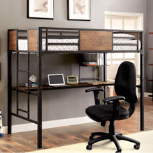 Austin Industrial Inspired Metal Twin Loft with Desk Undeneath