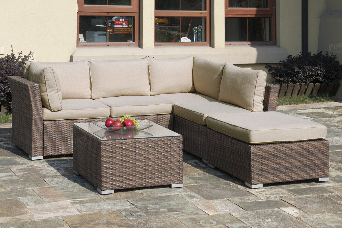 Lizkona outdoor patio 4 pcs sectional sofa set with coffee for 4 pcs sectional sofa